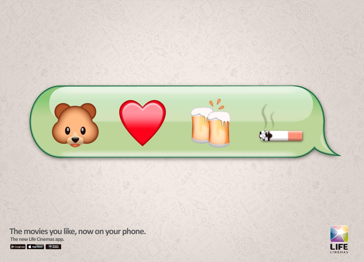 Suma un osito de peluche, un corazón, una cerveza y finalmente un cigarrillo.