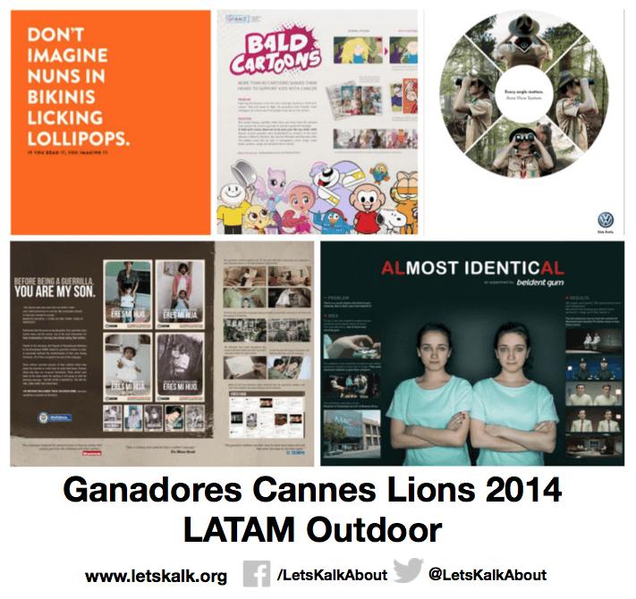 Lista de algunos ganadores América latina categoría: Outdoor Cannes Lions 2014.