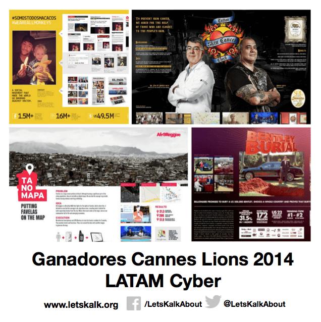 Lista de algunos ganadores América latina categoría: Cyber Cannes Lions 2014