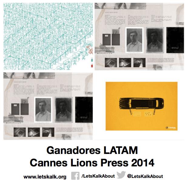 Lista de algunos ganadores América latina categoría: Press Cannes Lions 2014.