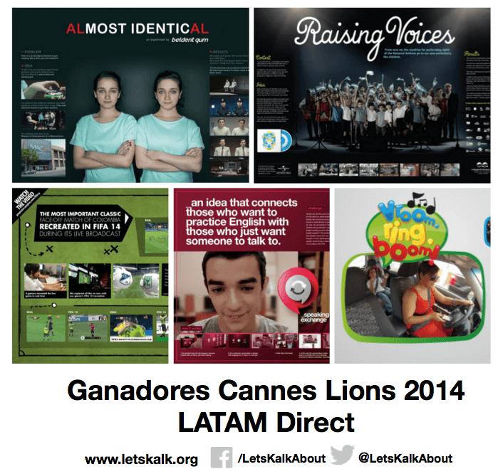 Lista de algunos ganadores América latina categoría: Direct Cannes Lions 2014.