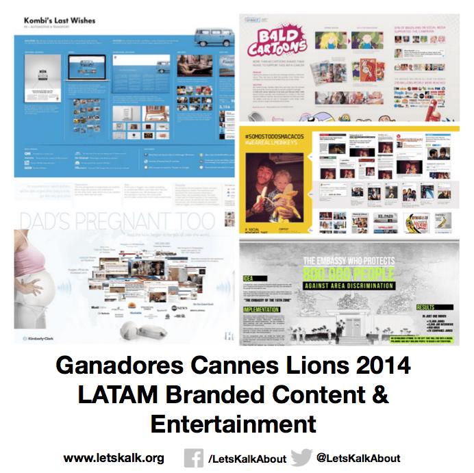 Lista de algunos ganadores América latina categoría: Branded Content & Entertainment Cannes Lions 2014